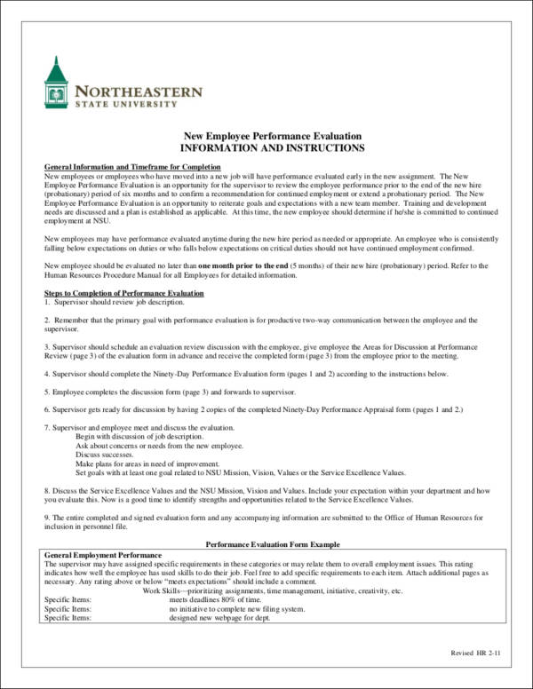 New Employee Performance Evaluation for Evaluating Employee Performance