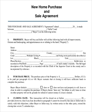New Home Purchase and Sale Agreement Example for Blanket Purchase Agreements