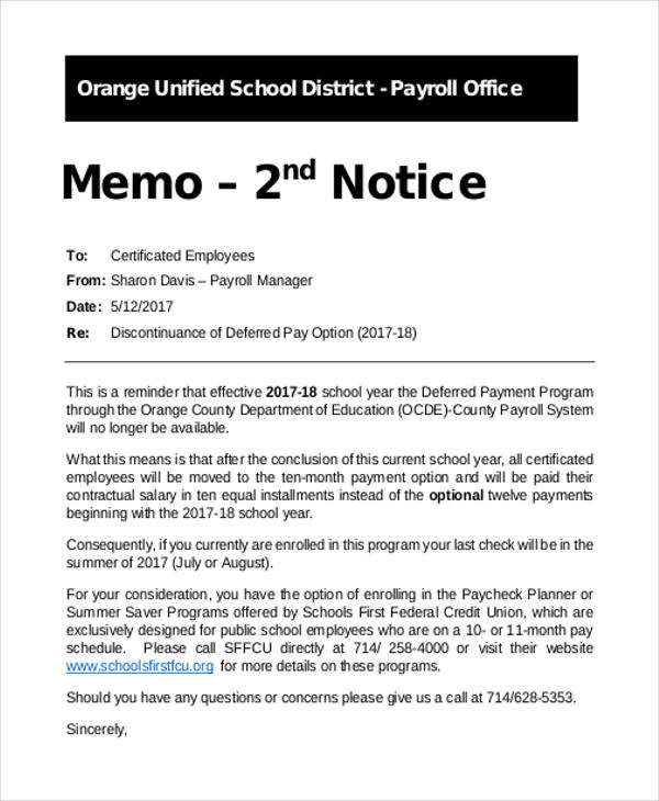 Notice Memo Sample for Memo Writing Samples And Templates Pdf Word