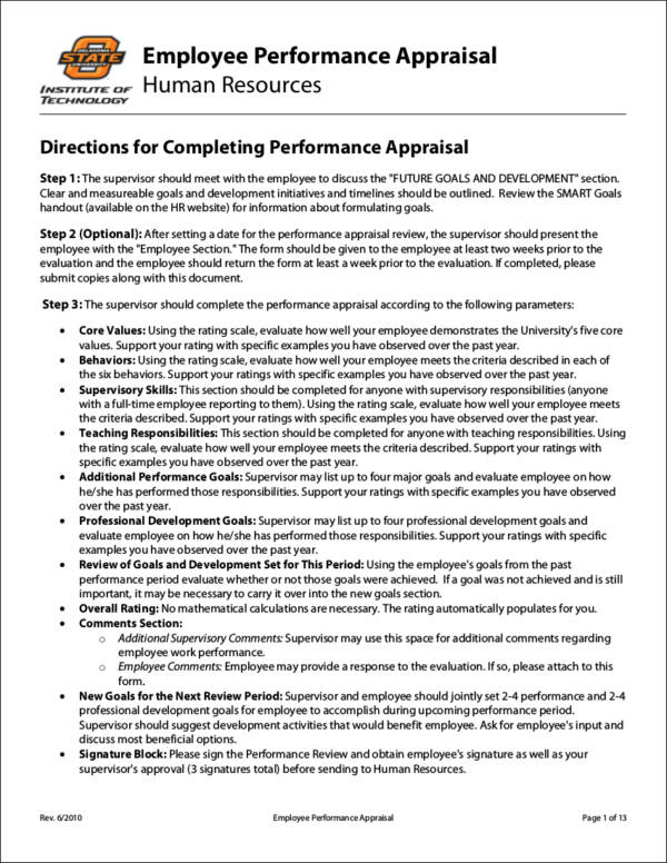 Oklahoma State Employee Performance Appraisal for Evaluating Employee Performance