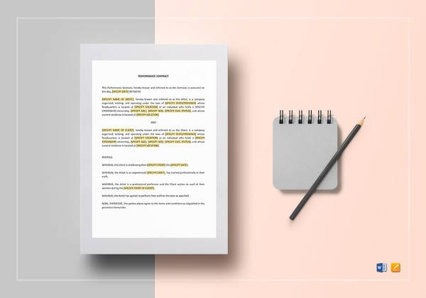 Performance Contract Template To Print For Student Agreement Contract