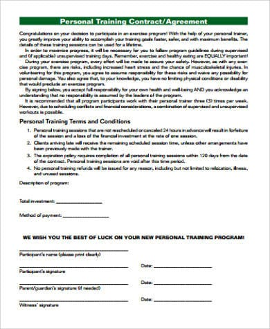 Personal Training Agreement PDF for Training Agreement