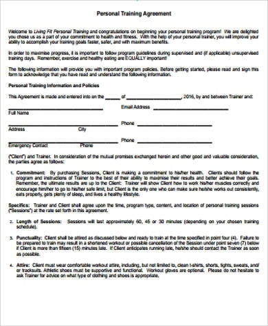 Personal Training Agreement for Training Agreement