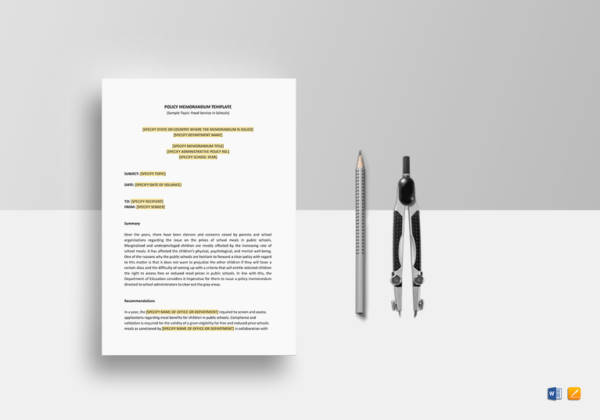 Policy Memo Template for Memo Writing Samples