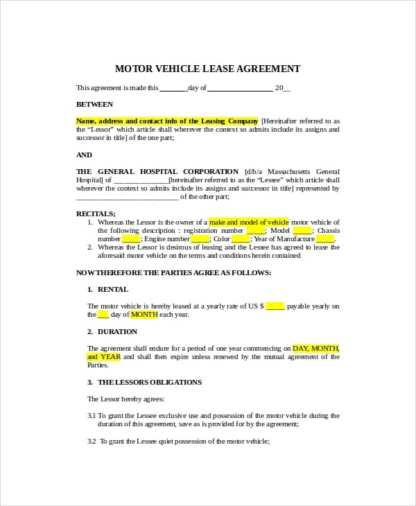Printable Vehicle Lease Agreement for Blank Rental Agreements