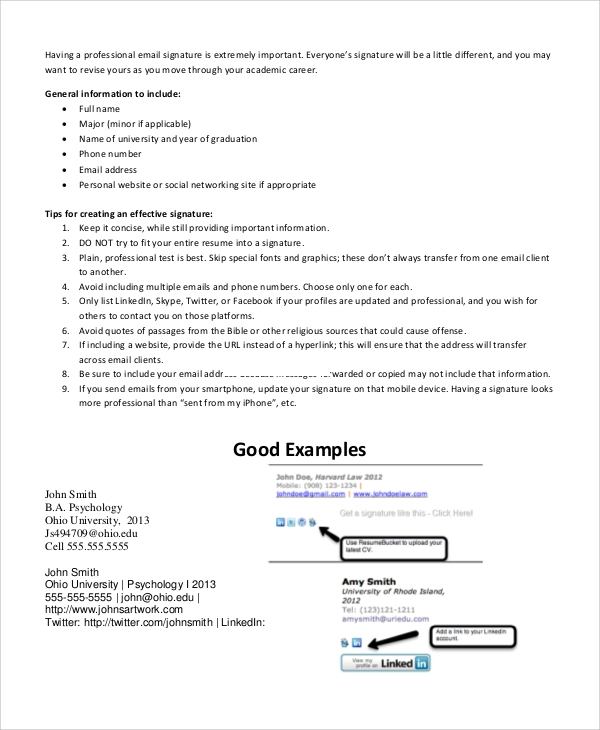 Professional Email Signature Sample for Email Signature Example