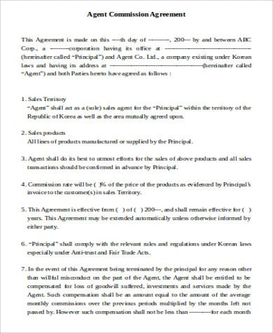 Sale Of Business Commission Agreement For Sale Of Business Agreement