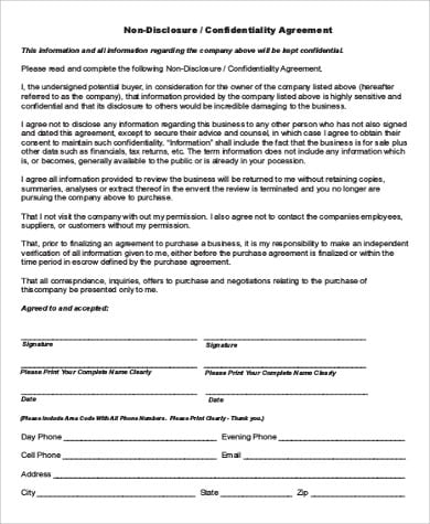 Sale Of Business Confidentiality Agreement For Sale Of Business Agreement