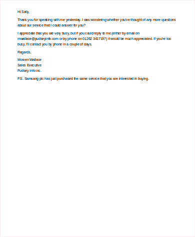 Sales Follow Up Email Example for Follow Up Email