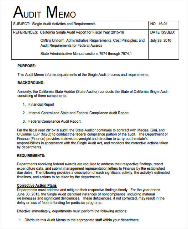 Sample Audit Memo for Audit Memo