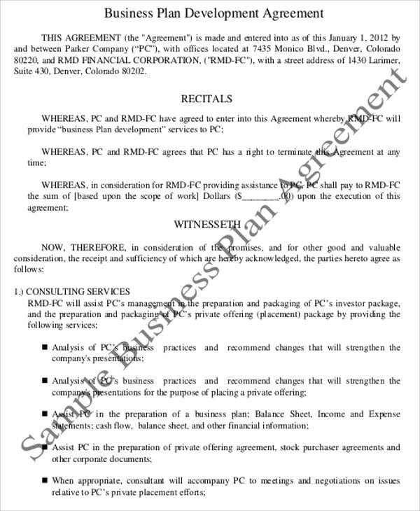 Sample Business Plan Consultant Agreement for Business Consultant Agreement