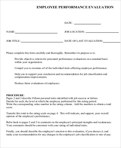 Sample Employee Performance Evaluation Form for Sample Performance Evaluation Forms