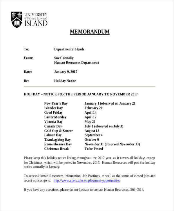 Sample of Holiday Notice Memo for Notice Memo