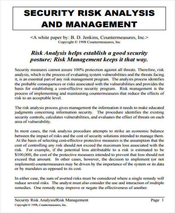 Security Management Analysis for Management Analysis Sample