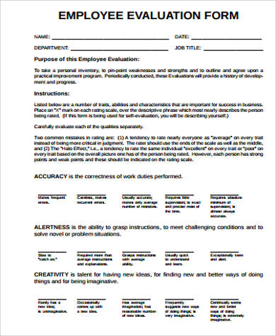 Simple Employee Evaluation Form for Employee Evaluation Forms Sample