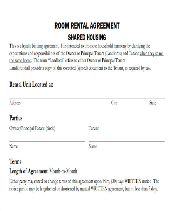 Simple Room Rental Agreement Form PDF for Purchase Agreement Forms