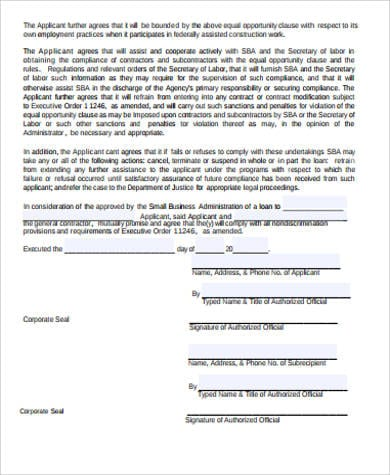 Small Business Contract Agreement Sample for Business Lease Agreement Sample