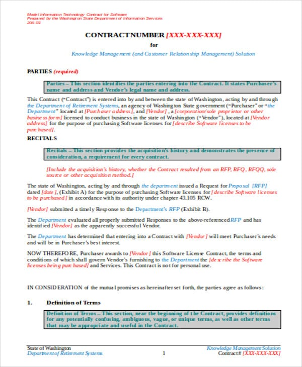 Software Vendor Contract Agreement1 For Vendor Contract Agreement