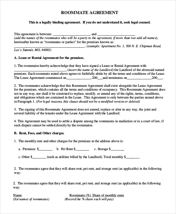 Standard Roommate Agreement for Residential Rental Agreements
