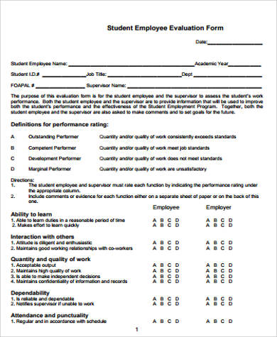 Student Employee Evaluation Form for Employee Evaluation Forms Sample