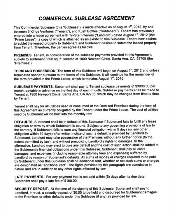 Sublease Commercial Agreement For Printable Agreement