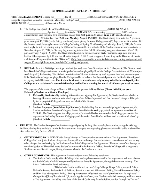 Summer Apartment Lease Agreement for Month To Month Rental Agreement Forms