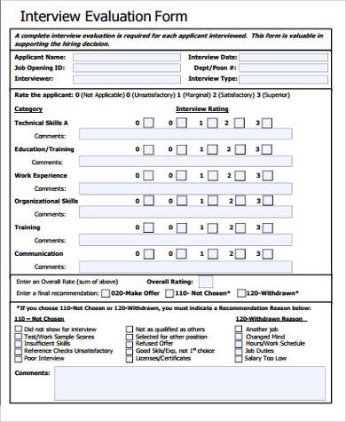 Technical Interview Evaluation Form for Interview Evaluation Forms