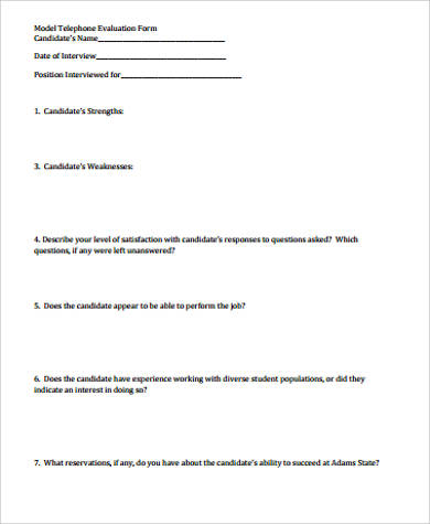 Telephone Interview Evaluation Form for Interview Evaluation Forms