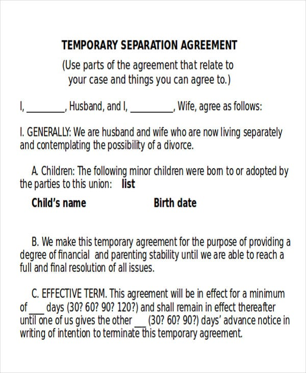 Temporary Divorce Agreement for Lease Agreement Example