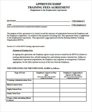 Training Fees Agreement Free for Training Agreement