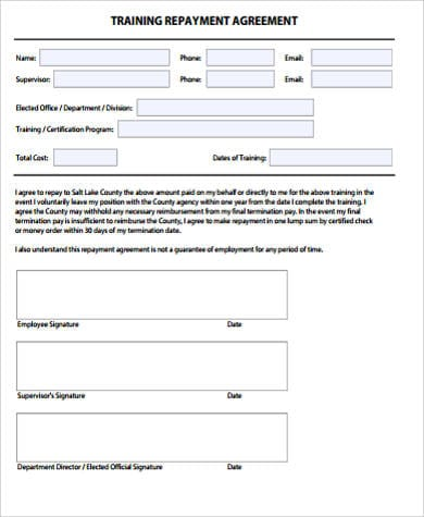 Training Repayment Agreement for Training Agreement