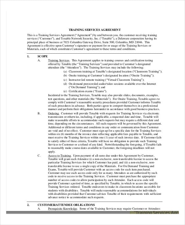 Training Services Agreement Contract for Training Agreement Contract