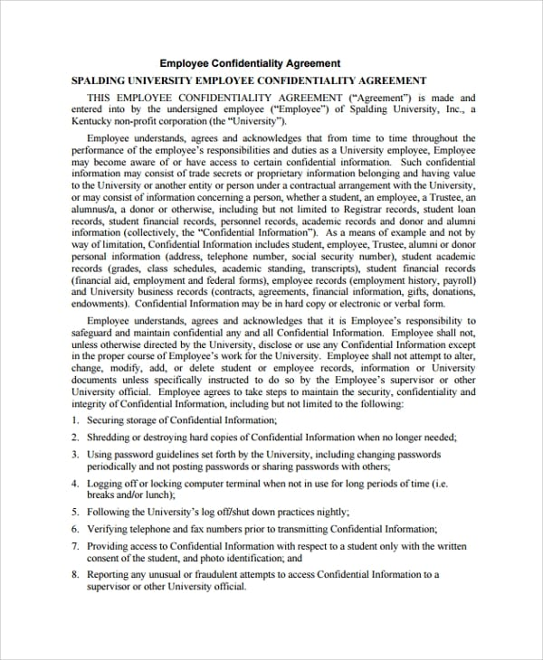 University Employee Confidentiality Agreement for Roommate Lease Agreement