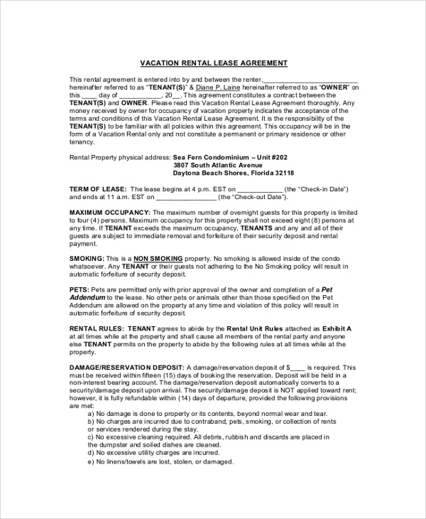 Vacation Rental Lease Agreement Sample for Basic Agreement Samples