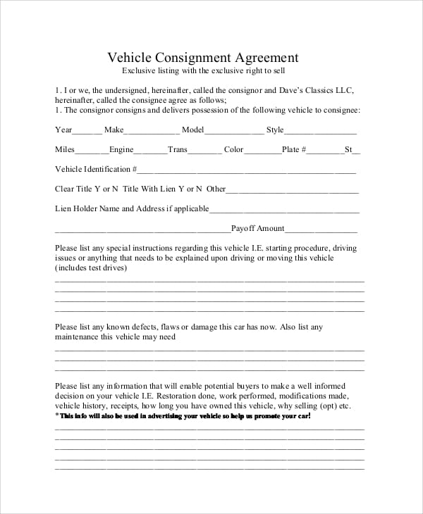 Vehicle Consignment Agreement for Vehicle Sales Agreement