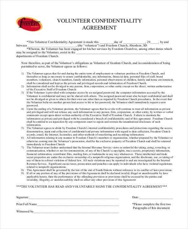 Volunteer Confidentiality Agreement Format for Volunteer Confidentiality Agreements