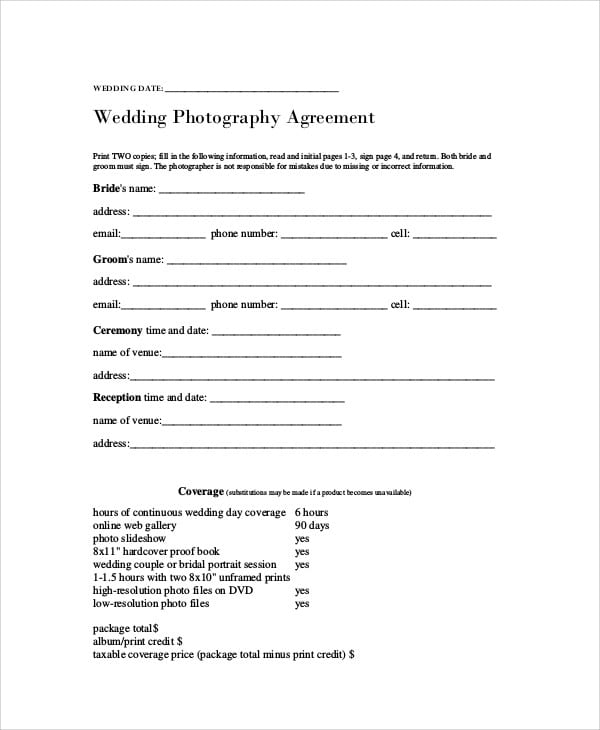 Wedding Photography Agreement Contract for Photography Agreement Contract