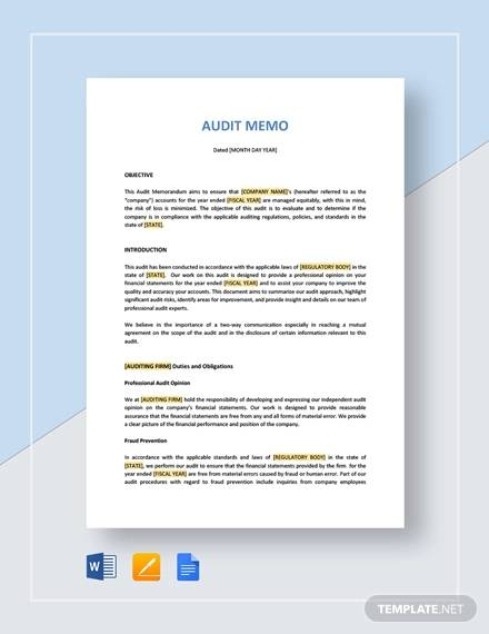 audit memo for Audit Memo