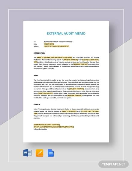 external audit for Audit Memo