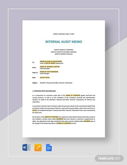 internal audit memo for Audit Memo