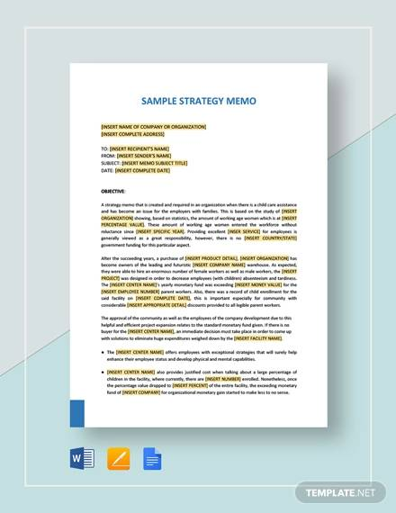 sample strategy memo for Strategy Memos