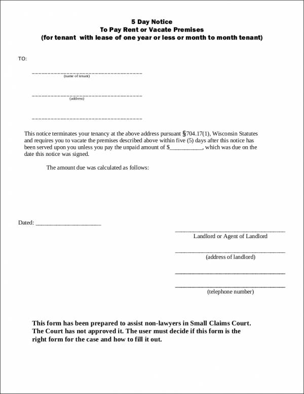 Day Notice to Pay Rent or Vacate Premises for free notice template