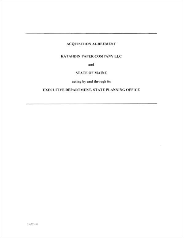 Acquisition Agreement In PDF For Acquisition Agreement Samples