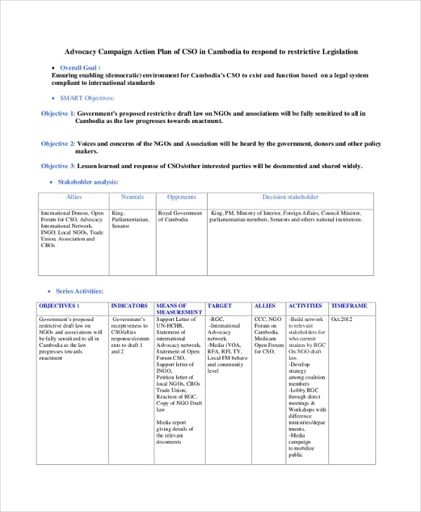 Advocacy Campaign Action Plan For Action Plans 1