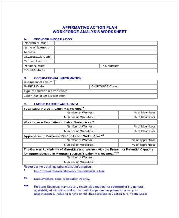 Affirmative Action Plan Workforce Analysis Worksheet For Action Plans 1