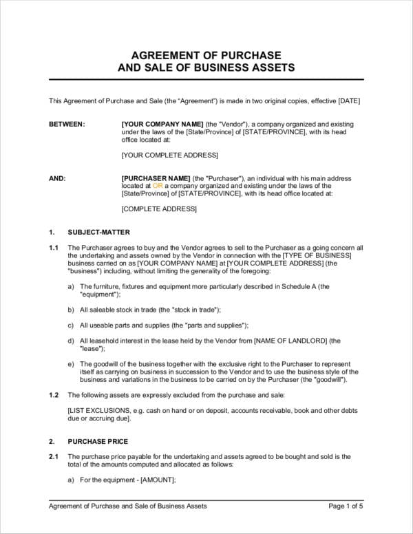 Agreement Of Purchase And Sale Of Business Assets For Business Sale Agreements