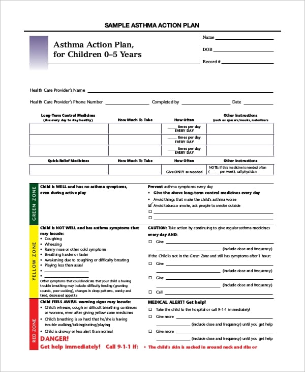 Asthma Action Plan For Children For Asthma Action Plan