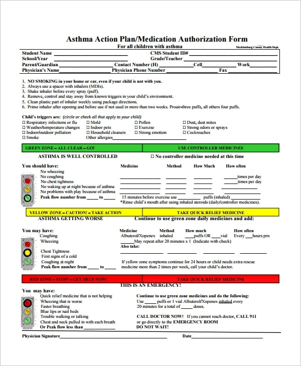 Asthma Action Plan Form For Asthma Action Plan