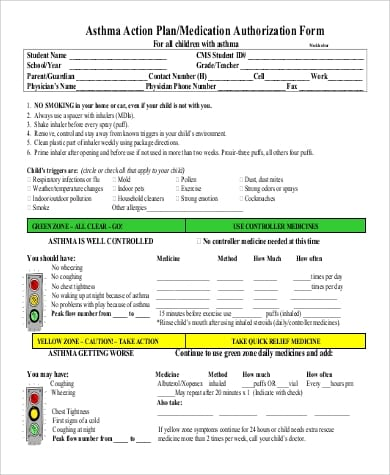 Asthma Action Plan Medication Authorization Form For Sample Asthma Action Plan