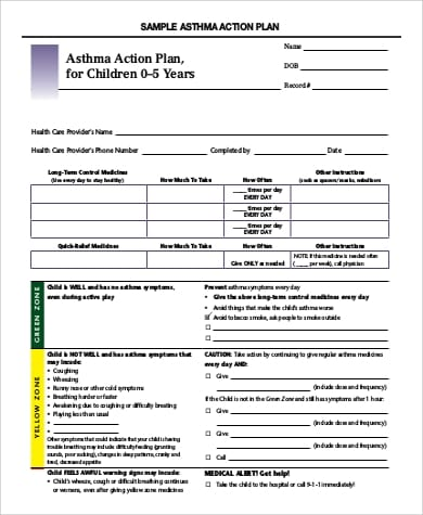 Asthma Action Plan For Children For Sample Asthma Action Plan